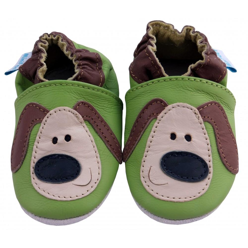 Детски зелени кожени пантофки с декорация куче