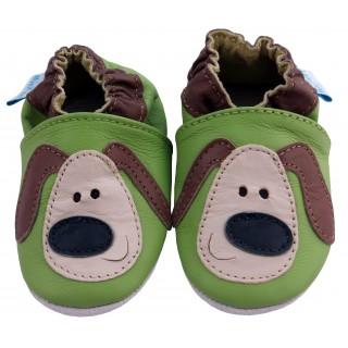 Зелени кожени пантофки с декорация куче