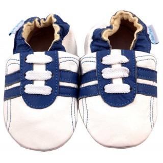 Детски бели кожени пантофки със сини ивици