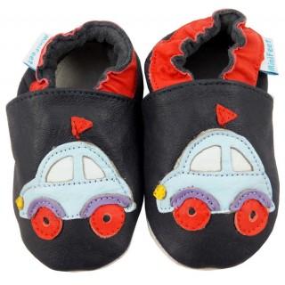 Черни кожени пантофки с червени елементи и декорация колички