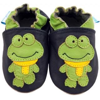 Черни кожени пантофки с елемент зелената Жаба Франк