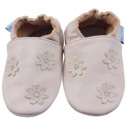 Кремави кожени пантофки с декорация от цветя в същия цвят