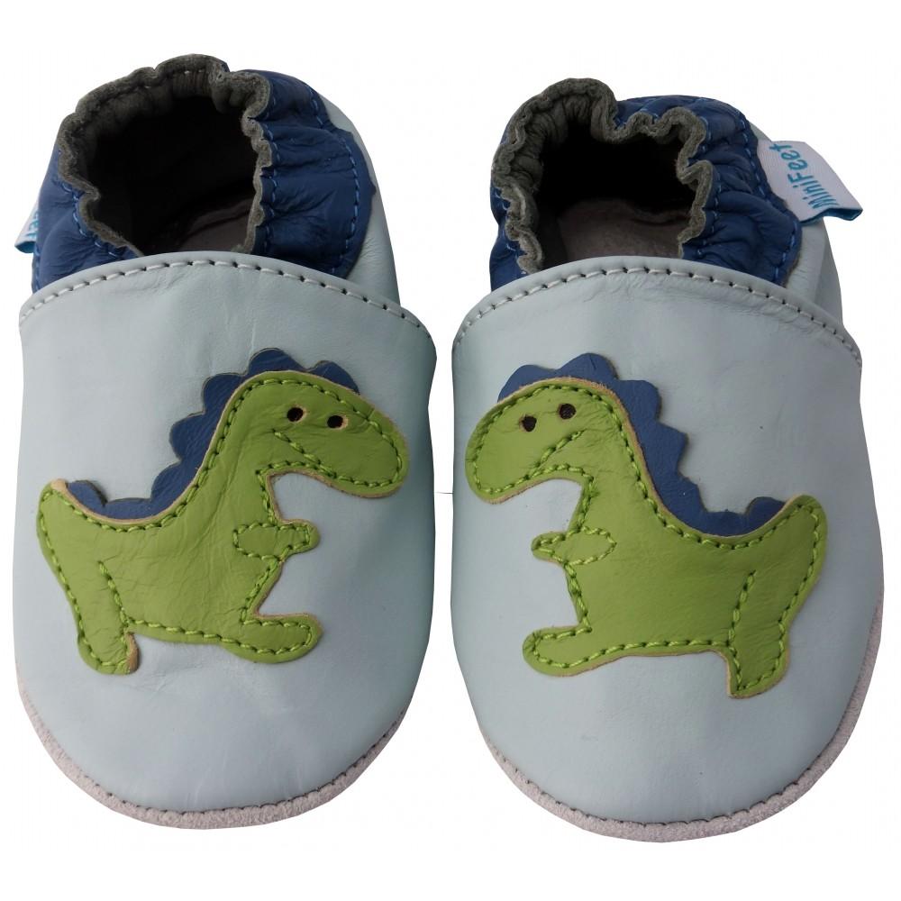 Детски сини кожени пантофки с декорация динозавър