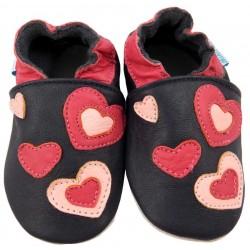 Великолепни Черни кожени пантофки с розови сърчица