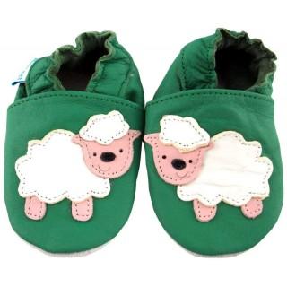 Детски зелени кожени пантофки с овца