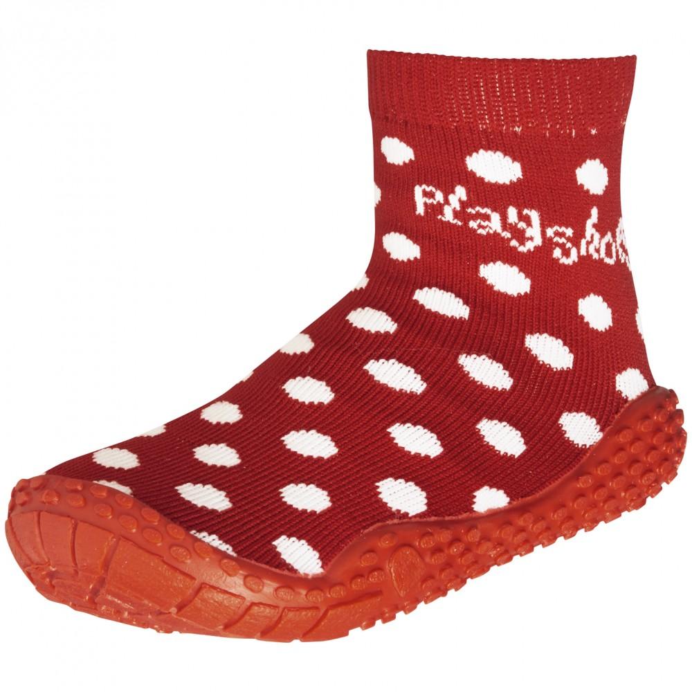 Чорапи с гумена подметка Red dots