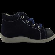 Тъмно сини велурени обувки с декорация на динозавърче