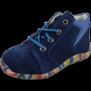 Тъмно сини велурени обувки с шарена подметка