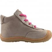 Кафяви кожени обувки с бели елементи и розови шевове и връзки