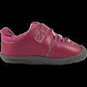 Розови кожени обувки с преплитащи се бели ластици