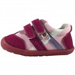 Розови обувки с преплитащи се цветни ленти