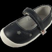Тъмно сини кожени обувки с изрязани отвори звездички