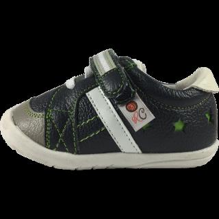 Кожени обувки в тъмно синьо и сиво с декоративни бели връзки и зелени шевове